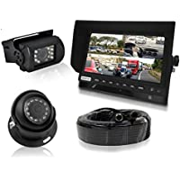 "Multi-Camera Monitor Video System Kit - 7"" Quad View LCD Display Screen Waterproof Rated Round & Square Rear View Backup Cameras w/Night Vision Illumination & DVR Recording - Pyle PLCMTRDVR48"