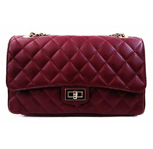 Sac décorations avec Designer prune Taille italien Dorées en Cuir de main sac Rouge Inspiration unique à matelassé wqgqUR4
