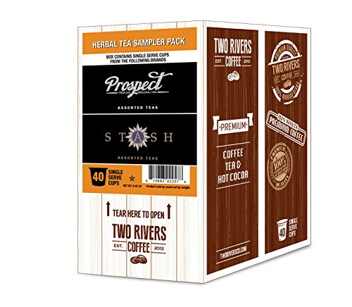 Two Rivers Assorted Herbal Tea Sampler Pack for Keurig K-Cup Brewers, 40 Count - incensecentral.us