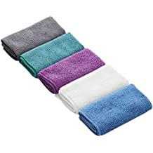 Lint Free Microfibre Washcloths Cleaning Cloths Duster, Soft and Durable Kitchen Tea Towels Suitable for Kitchen, Restaurant, Coffee Shop, Bars and Household Cleaning, Pack of 5 Random Colors