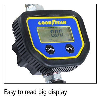 Not for Gasoline 35 LPM Heavy Duty Air Operated Pneumatic 1//2 inch NPT Inlet Pressure Range 7-1500 Psi 5-100 Bar with Flexible Spout GOODYEAR Digital Oil Control Valve Meter Nozzle 10 GPM