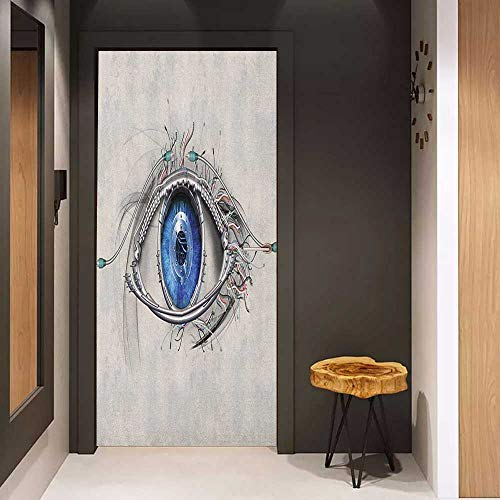 Onefzc Door Sticker Mural Eye Futuristic Style a Mechanic Sight in Direct Eye Contact Science and Engineering WallStickers W35.4 x H78.7 Beige Navy Blue (Best Sights In Washington Dc)
