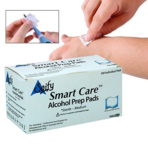 Smart Care Swabs Antiseptic Prep Wipes 100 Count Sterile Medium Pads Individually Sealed - Ideal for Pre-Injection Skin Prepping. - Contains 70% Isopropyl Alcohol. 100 Count by Smart Care