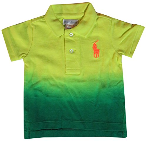 (Polo Ralph Lauren Infant Boys Short Sleeve Tie Dye Big Pony Shirt Yellow/Green (9 Months))