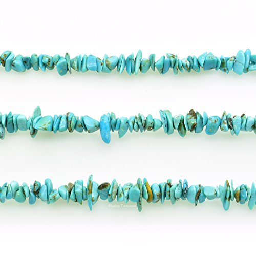 (Bluejoy Genuine Natural American Turquoise Chip Bead 16 inch Strand for Jewelry Making)