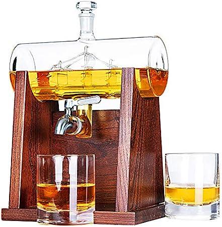 Combinación perfecta: juego de decantador de whisky Jillmo, incluye un decantador de whisky sin plom