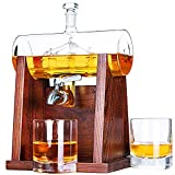 Jillmo Whiskey Decanter Set, 1250ml Whiskey Decanter with 2 Whiskey Glasses