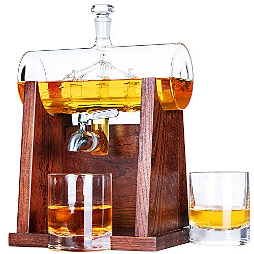 (Jillmo Whiskey Decanter Set with 2 Glasses - 1250ml & 42 oz Lead Free Barrel Ship Dispenser with Detachable Wooden Holder Gift for Liquor, Scotch, Bourbon, Vodka, Whisky, Rum & Alcohol)