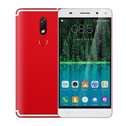 Unlocked Red Smartphone (4G FDD-LTE Unlocked Android 7.0 Smartphone, Padcod M68 5.5 Inch HD Display,MTK6737 1.3GHz Processor,16GB ROM,8MP Rear Camera,2G/3G/4G Network, Bluetooth Wi-Fi Unlocked Fingerprint Smart Phone)