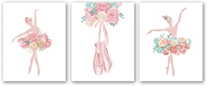 """Watercolor Pink Ballet Art Print-- Flower Ballerina with Dancing Shoes Canvas Wall Art--(8""""X10""""X 3pieces, Unframed)--Perfect for Girl Bedroom Dance Studio Decoration"""