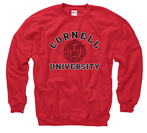Cornell University Big Red Men's Arch & Seal Crewneck Sweatshirt-Red