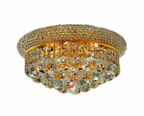 Elegant Lighting Primo Collection 6-Light Flush Mount Royal Cut Crystals with Gold Finish
