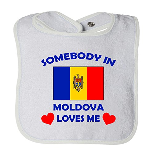 (Cute Rascals Somebody In Moldova Loves Me Tot Contrast Trim Terry Bib White)