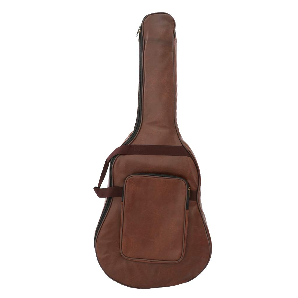 FLAMEER Durable Guitar Gig Bag Zaino In Pelle PU Per 40 '' 41 '' Chitarra Classica Acustica - Marrone, come descritto