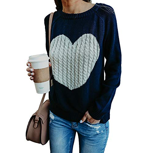 Exlura Women's Casual Sweater Heart Pattern Patchwork Pullover Long Sleeve Crew Neck Knits Loose Top