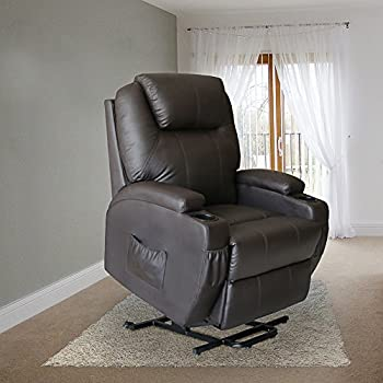 Magic Union Power Lift Heated Vibrating Electric Massage Recliner Chair with Wheels Controls- Brown