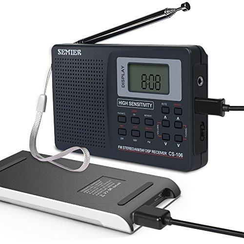 SEMIER Portable Shortwave Travel AM FM Stereo Radio Clock, Alarm, Clear Loudspeaker, Earphone Jack USB Power Cord by SEMIER (Image #6)