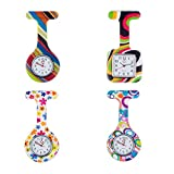Set of 4 High Quality Brooches / Fobs Watches In Infections Control Silicone Hygienic Protection Covers / Holders With Colorful Patterns / Designs By VAGA