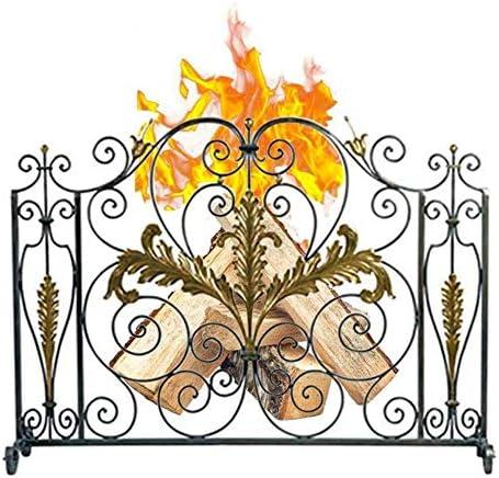 暖炉スクリーン 錬鉄メッシュカバー付き、屋内/屋外の無料立ち錬鉄の装飾メッシュカバー付き暖炉スクリーンフラットシングルpanle