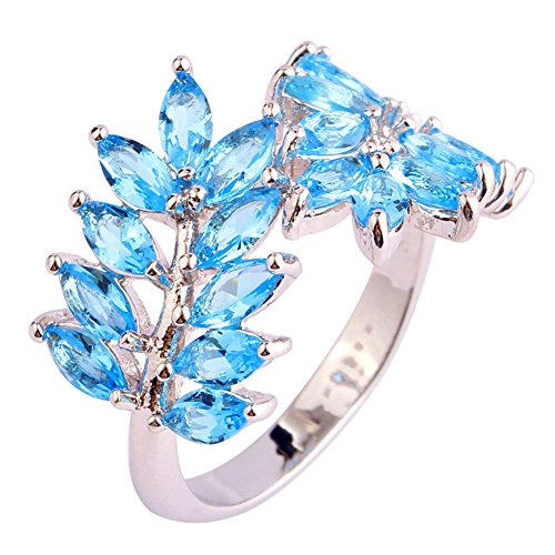 Veunora 925 Sterling Silver Created Marquise Cut Blue Topaz Filled Leaf Cluster Ring for Women Size 9