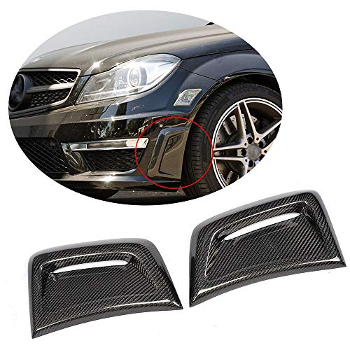 MCARCAR KIT Fits Mercedes Benz W204 C63 AMG Sedan 2012 2013 2014 Real Carbon Fiber Front Air Fender Insert Vent Cover Auto Exterior Side Scoops
