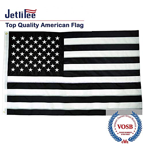 Jetlifee 3x5 Ft Black and White American Flag by US Veterans Owned Biz. 100% 300D Nylon, Vivid Color and UV Fade Resistant, Embroidered Stars & Sewn Stripes 3 X 5 Foot Black and White Flags (Flag With Stars And Black And White Stripes)