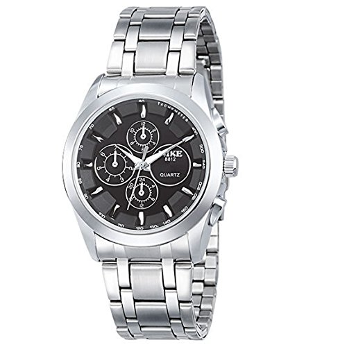 CRF Dial de relojes grandes hombres del reloj resistente al agua reloj de acero-Negro