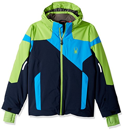 Spyder Boy's Chambers Ski Jacket, Frontier/Fresh/French Blue, Size 12 Spyder Boys Jacket