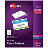 Avery Pin Style Name Badges, Print or Write, 2-1/4' x 3-1/2',  Pins Securely, 100 Inserts & Pin Badge Holders (74549), White