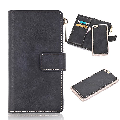 iPhone 6S Plus Wallet Case Magnetic Detachable Slim Cover, XRPow Luxury Series Vegan Folio Flip Leather Protection Shell Carrying Cover Stands for iPhone 6S Plus/6 Plus 5.5″ Black