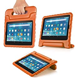 TNP Shock Proof Case for All New Fire 7 Tablet (7th Gen, 2017 Release) - For Kid Friendly Child Proof Anti Slip Impact Drop Light Weight Convertible Handle Stand Cover Protective Case (Orange)