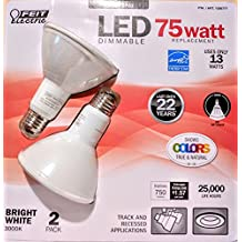 Feit Electric 75 Watt LED PAR30 SPOT ,LED DIMMABLE bright white 3000k uses only 13 WATTS -Track and Recessed - 2 Pack (1026777)