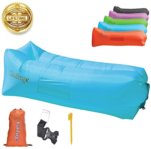 - Gaduge Outdoor Inflatable Lounger & Pool Chair, Hangout Sofa & Inflatable Couch for Bedroom, Floats on Water - Includes Pockets, Comfy Headrest, Bottle Opener, Stake & Bag (Blue)
