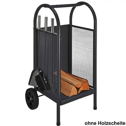 Carro para leña (Incluye Carrito para chimenea (con ruedas madera chimenea cesta cesta para