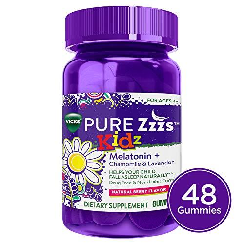 Vicks Pure Zzzs Kidz Melatonin Lavender & Chamomile Sleep Aid Gummies for Kids & Children, Natural Berry Flavor, 0.5mg per gummy, 48 Ct (Dosage Of Melatonin For 5 Year Old)