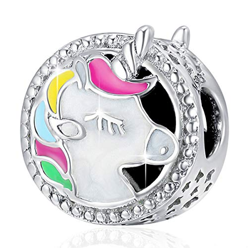 FOREVER QUEEN Unicorn Charm for Pandora Charms Bracelet, Round Shape Genuine 925 Sterling Silver Colorful Enamel Bead for Pandora European Bracelets BJ09002