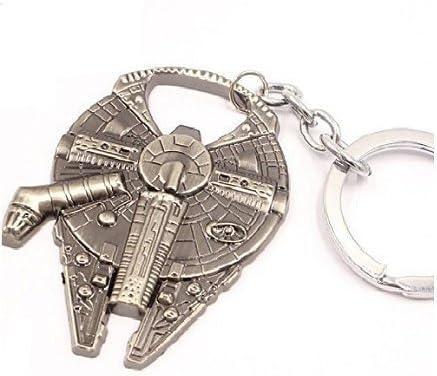 Vintage Silver Star Wars Millennium Falcon Metal Bottle opener Key Ring Keychain