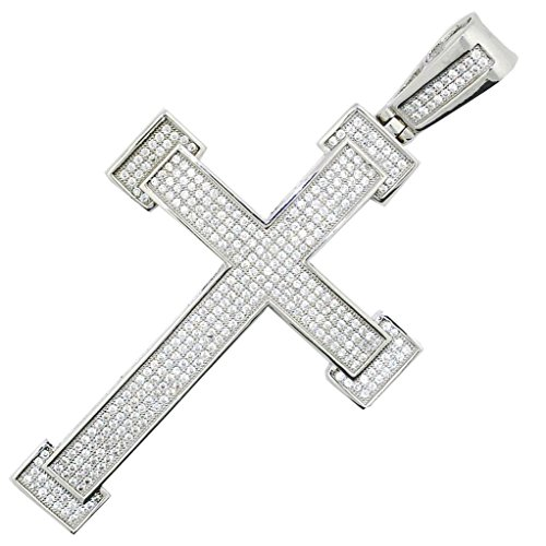 Midwest Jewellery Sterling Silver Cross Charm with CIced Out CZ Pave Set 65.5mm Tall Mens Cross Pendant Extra ()