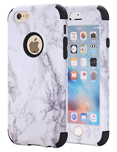 iPhone 6S Case, iPhone 6 Case, KAMII White Marble Stone Pattern Shockproof 2in1 Dual Layer TPU Bumper Hard PC Hybrid Defender Armor Case Cover for Apple iPhone 6/ 6S 4.7inch (Black)