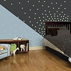 Lunarland CONFETTI Polka DOTS 180 Wall Decals Room White Decor Stickers GLOW IN THE DARK