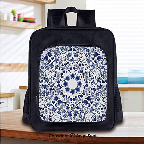 Lightweight Backpack Middle Eastern Swirl Petals with Ethnic Ottoman Folk Art Effects Boho Arabesque Design School Bag for Kid Girls Boys Travel College School Bags,Blue -
