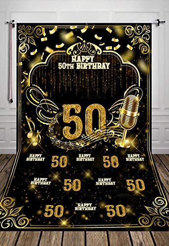 TJ Golden 50th Happy Birthday Photography backdrops Black and Gold Shining Sequin Microphone Photo Background Fifty Years Old Age Theme Party Decor Banner Studio Booth Props Vinyl -