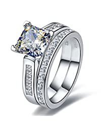 Solid Silver Jewelry 2CT Princess Cut NSCD Diamond Rings Set Bridal Women