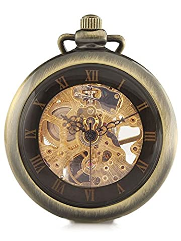 Carrie Hughes Bronze Steampunk Mechanical skeleton Pocket watch with chain Fob for Men Woman CHPW08 (Mechanical Pocket Watch Engraved)