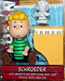 SCHROEDER (GREEN SHIRT & NO SMILE FACIAL EXPRESSION) with Grand Piano, Beethoven Bust & Musical Note Area Rug PEANUTS Action Figure from \