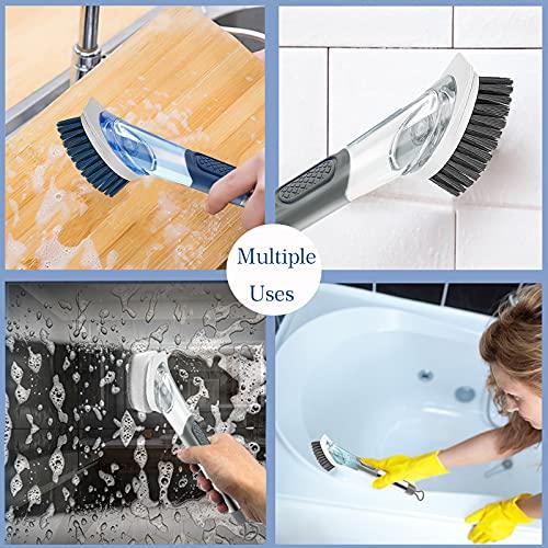 Allcleaner Dish Brush Soap Dispensing Dish Brush Kitchen Scrub Brush for Dish 2 Replacement Brush Heads Soap Control Dish Wand Reusable Dish Washing Brush Scrubber (Blue)