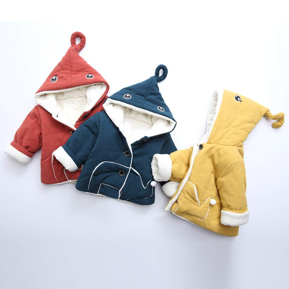 FreshZone Kids Winter Hooded Coat Baby Girl Boy Jacket Thick Warm Outerwear Clothes with Button