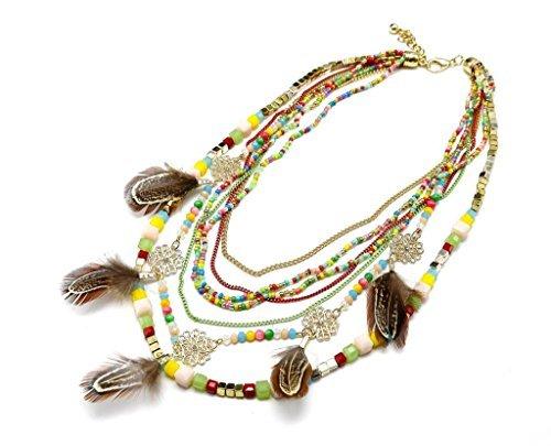 CC767 - Collier Multi-Rangs Perles Chaînes et Charms Fleurs Plumes Ethnique Multicolore - Mode Fantaisie