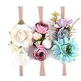 Friended 3Pcs Boho Artificial Flower Headband Baby Girl Wreath Newborn Hair Accessories