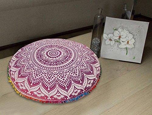 Large 32''purple Round Pillow Cover Boho Mandala Floor Cushion Zen Meditation Pillow Case Outdoor Pom Pom Pillow Sham by Radhy Krishna Fashions